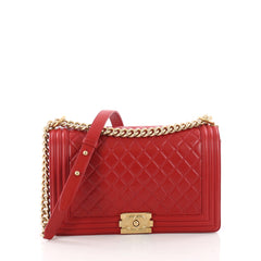 Chanel Boy Flap Bag Quilted Lambskin New Medium Red 3455501