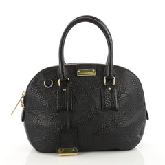 Burberry Orchard Bag Embossed Check Leather Small Black 3457501