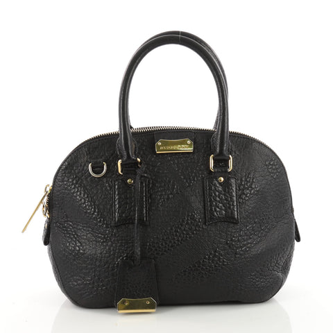 e087c4b4e2a1 Burberry Orchard Bag Check Embossed Leather Small Black 3457501 – Rebag