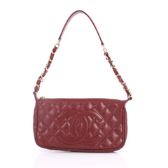 Chanel Timeless CC Chain Pochette Quilted Caviar Red 3458301