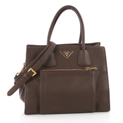 Prada Front Pocket Wing Convertible Tote Vitello Daino Brown 3459803