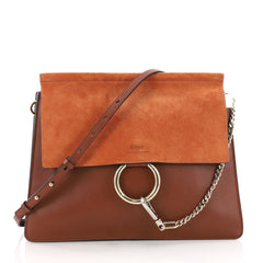 Chloe Faye Crossbody Leather and Suede Medium Brown 3460105