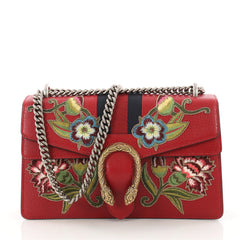 Web Dionysus Handbag Embroidered Leather Small