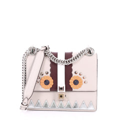 Fendi Faces Kan I Handbag Leather Small Gray 3461901