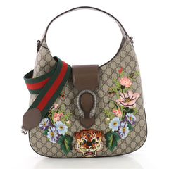 Gucci Dionysus Hobo Embroidered GG Coated Canvas Medium Brown 3463201