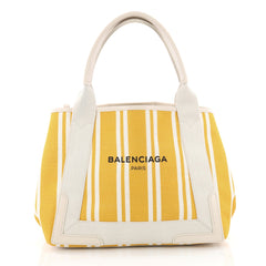 Balenciaga Navy Cabas Canvas with Leather Small Yellow 3464604