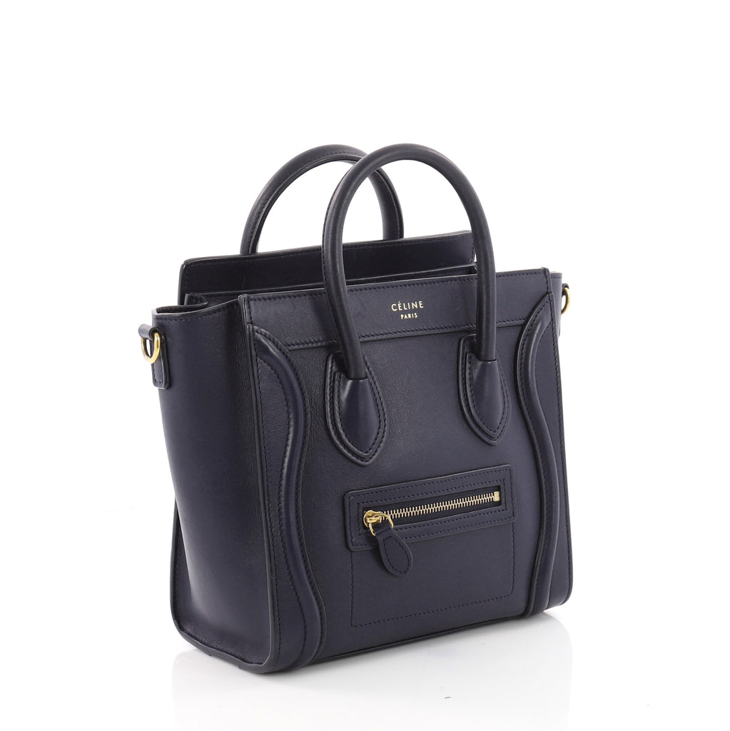 872a9d1f96 Buy Celine Luggage Handbag Smooth Leather Nano Blue 3465002 – Rebag