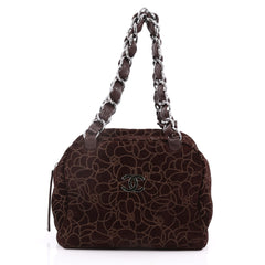 Vintage Camellia Bowling Bag Embossed Suede Small