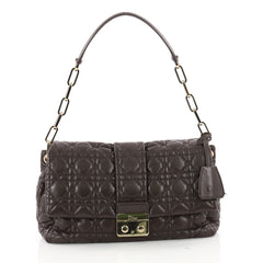 Christian Dior New Lock Flap Bag Cannage Quilt Lambskin Small Brown 3465202