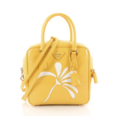 Prada Flowers Bauletto Bag Vernice Saffiano Leather Small Yellow 3465403