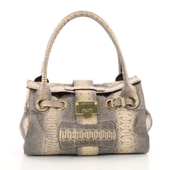 Jimmy Choo Rosalie Convertible Satchel Python Medium Neutral 3466302
