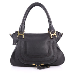 Chloe Marcie Satchel Leather Medium Black 3468901