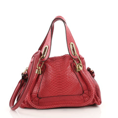 Chloe Paraty Top Handle Bag Python Small Red 3471203