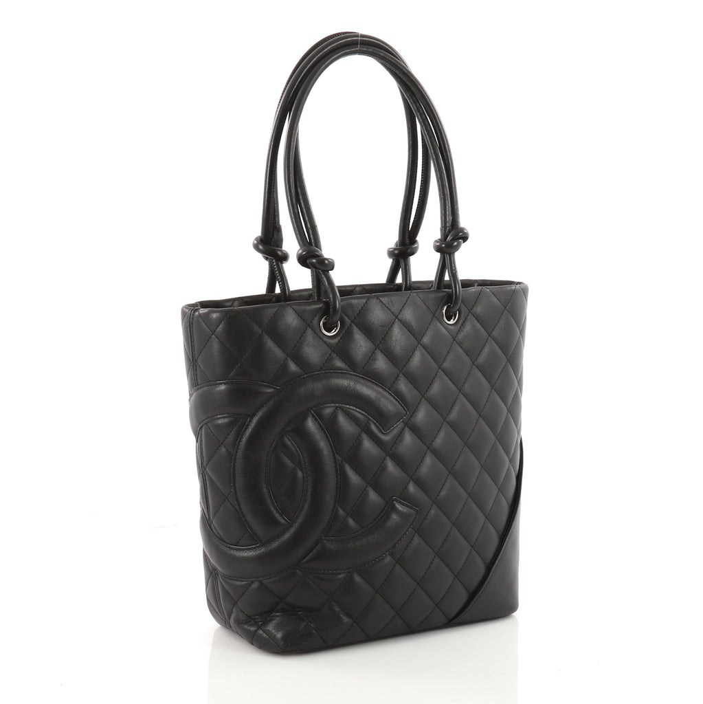 59615472c062 Buy Chanel Cambon Tote Quilted Leather Medium Black 3472602 – Rebag