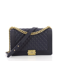 Chanel Boy Flap Bag Quilted Caviar New Medium Blue 3472901