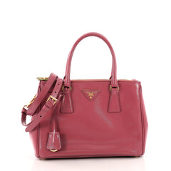 Prada Double Zip Lux Tote Vernice Saffiano Leather Mini Pink 3473101