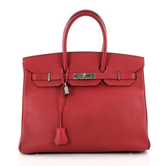 Hermes Birkin Handbag Red Epsom with Palladium Hardware 3473301