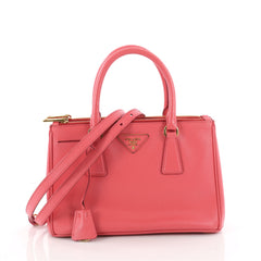 Prada Double Zip Lux Tote Saffiano Leather Mini Pink 3474001