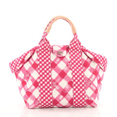 Chanel Top Handle Satchel Gingham Print Canvas Small Pink 3474203