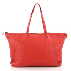 Bottega Veneta Zip Top Tote Leather with Intrecciato Detail Large Red 3474205