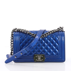 Chanel Boy Flap Bag Quilted Patent Old Medium Blue 3475109