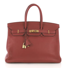Birkin Handbag Sienne Clemence with Gold Hardware 35