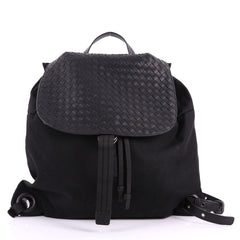 Bottega Veneta Drawstring Flap Backpack Technical Canvas with Intrecciato Leather Large Black 3480501
