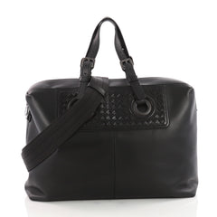 Bottega Veneta Oculus Duffle Leather with Intrecciato Detail Large Black 3480502