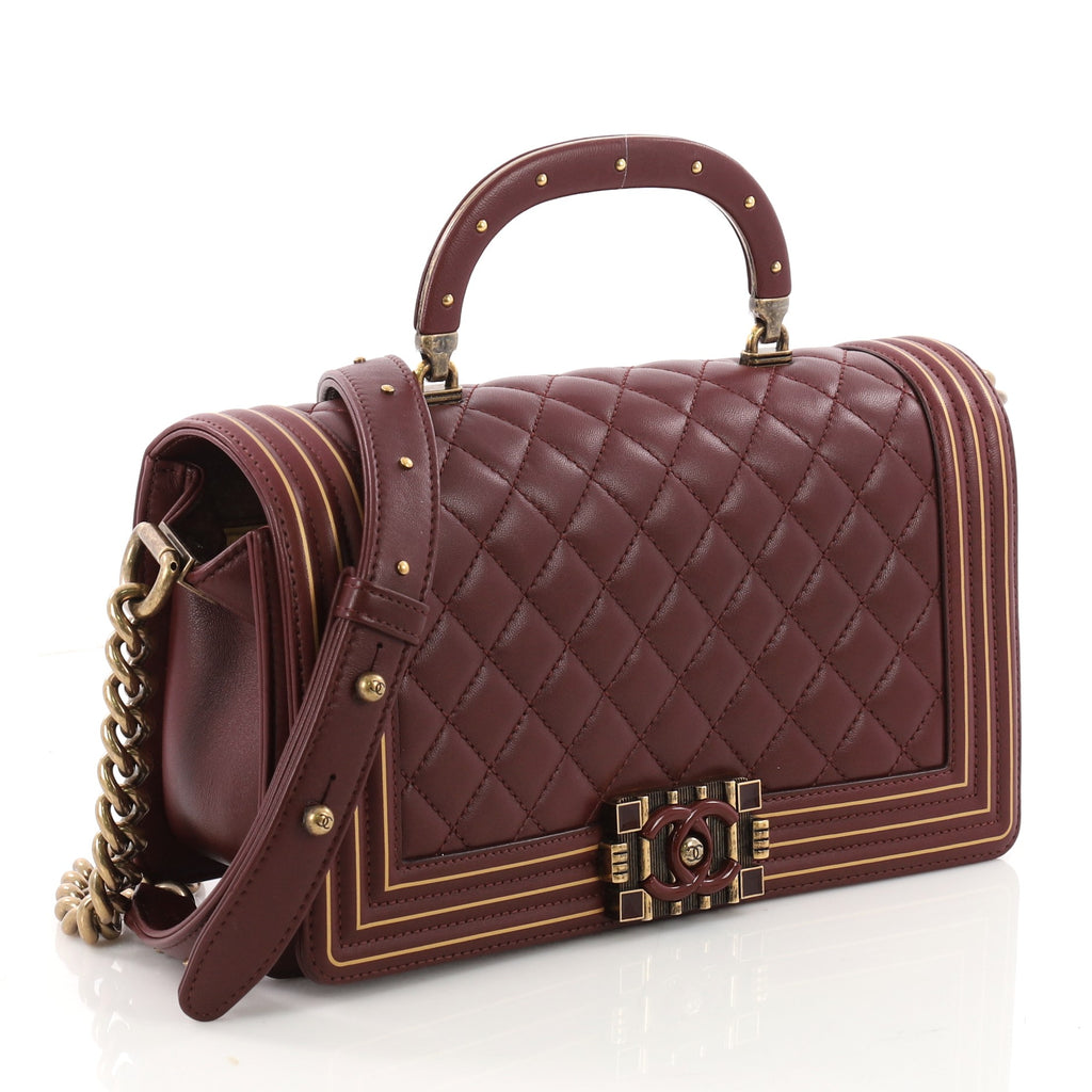 444fd778ff508d Buy Chanel Studded Handle Boy Flap Bag Quilted Lambskin Old 3482101 ...