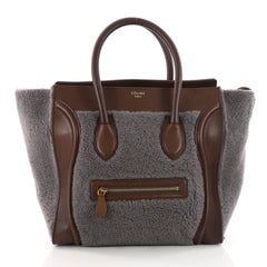 Celine Bicolor Luggage Handbag Shearling Mini Gray 3482802