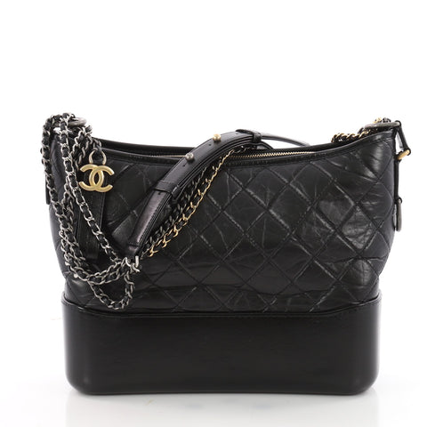 32ea9f98f15c Buy Chanel Gabrielle Hobo Quilted Aged Calfskin Medium Black 3485001 – Rebag