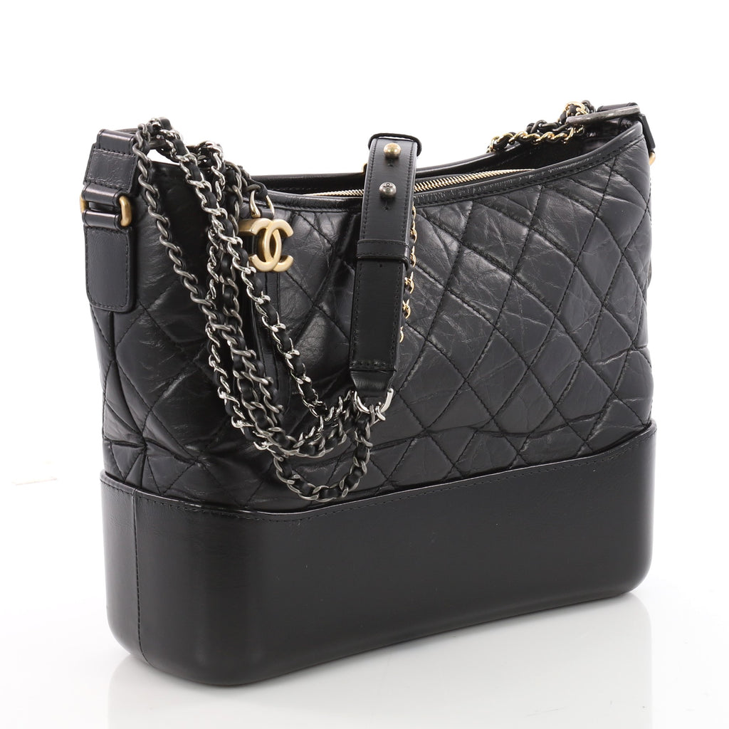 ed69cfee6a92 Buy Chanel Gabrielle Hobo Quilted Aged Calfskin Medium Black 3485001 ...