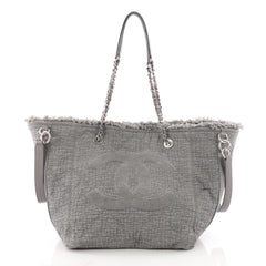 Chanel CC Open Tote Fringe Quilted Canvas Medium Gray 3486501