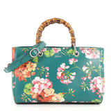 Gucci Bamboo Shopper Tote Blooms Print Leather Medium 3486503