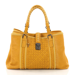 Bottega Veneta Roma Handbag Leather with Intrecciato Detail Medium Yellow 3487805