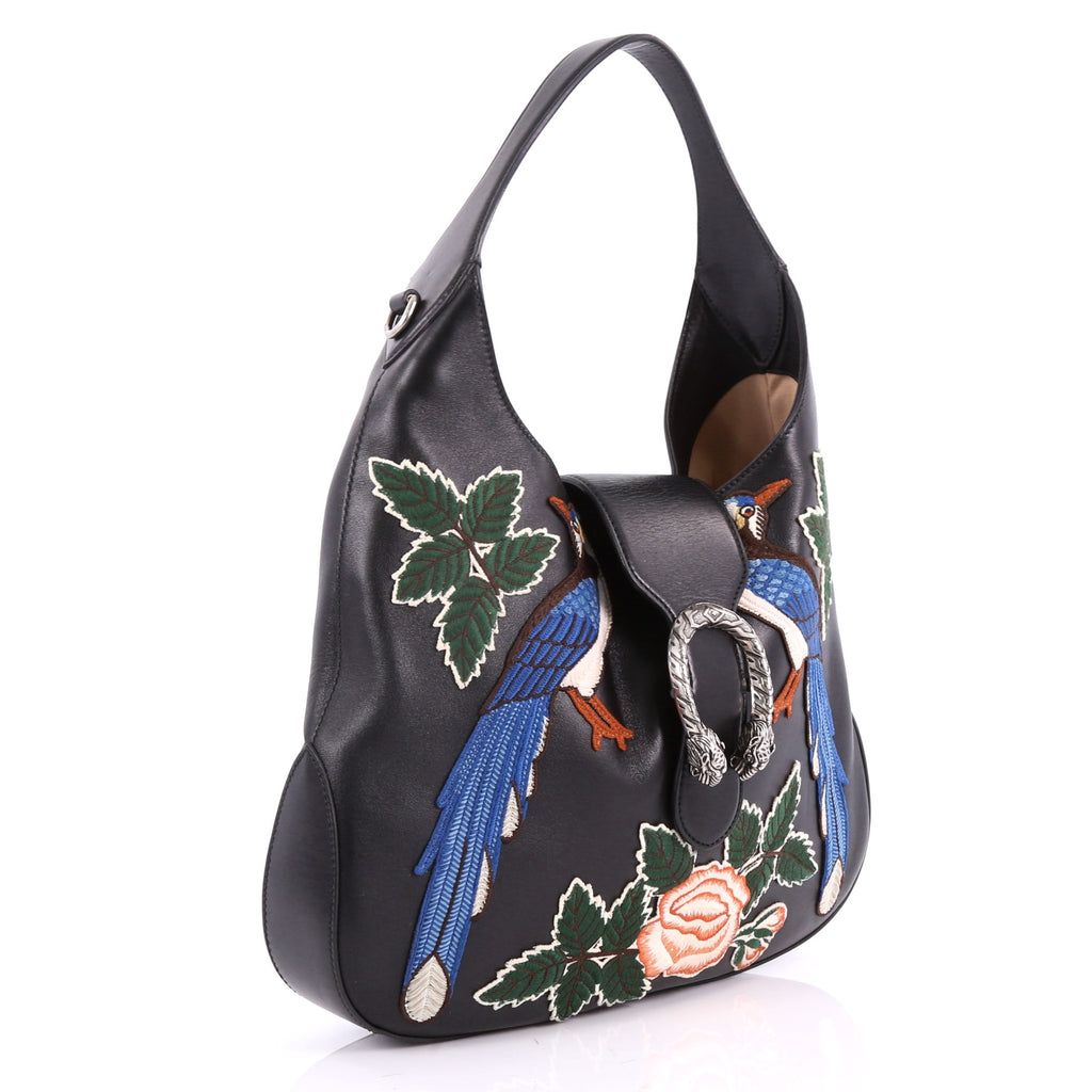 2f7fb9d0ea379a Gucci Dionysus Hobo Embroidered Leather Small Black 3491401 – Rebag