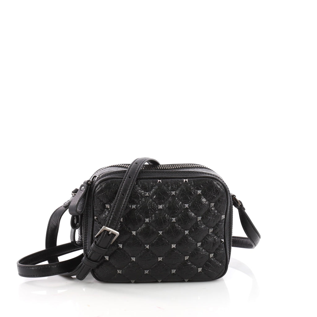 c1067c036a Buy Valentino Rockstud Spike Camera Bag Quilted Leather Mini 3491602