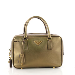 Prada Bauletto Handbag Saffiano Leather Small Gold 3491701