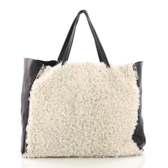 Celine Horizontal Gusset Cabas Tote Shearling and Leather Large White 3491803