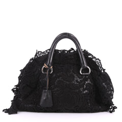Prada Pizzo S Bowler Bag Lace and Leather Large Black 3492505