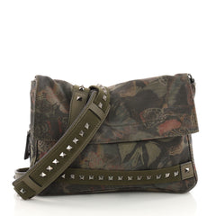 Valentino Rockstud Messenger Bag Camubutterfly Printed Canvas Small Green 3493503
