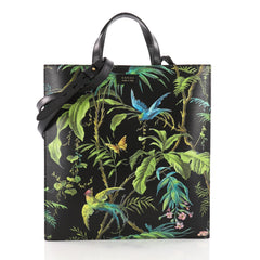 Convertible Soft Open Tote Tropical Print Leather Tall