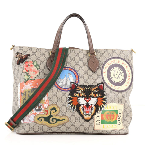 5ef10a3eccb Buy Gucci Convertible Courrier Soft Open Tote GG Coated 3494702 – Rebag