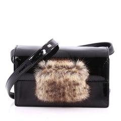 Saint Laurent Lulu Bunny Shoulder Bag Patent with Fur 3494901