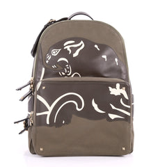 Valentino Backpack Canvas with Applique Large Green 3496601