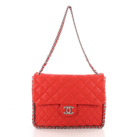 7d8ee4907cbe38 Chanel Chain Around Flap Bag Quilted Leather Maxi Red 3497001 – Rebag