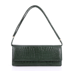 Valentino Flap Clutch Alligator Long Green 3497301