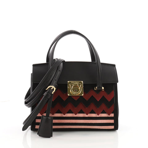 cd09e4db1934 Buy Salvatore Ferragamo Mara Tote Zigzag Suede and Leather 3500101 – Rebag