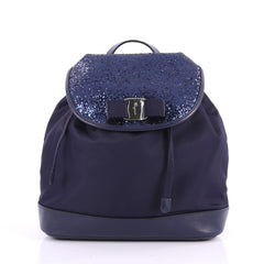 Salvatore Ferragamo Bow Flap Backpack Nylon with Sequins 3500401 920d671476bab
