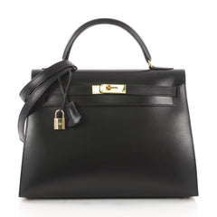 Hermes Kelly Handbag Black Box Calf with Gold Hardware 3502001